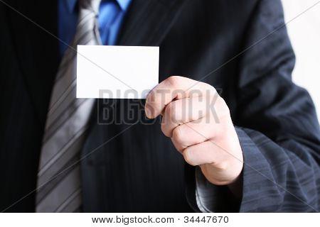 Successful Businessman Holding Empty Card