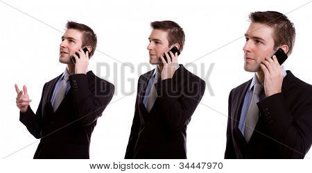 Collection of young business man on the phone against white background