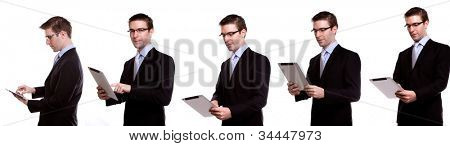 Collection of young business man using a touch screen device against white background