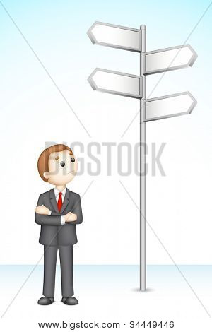 illustration of 3d confused business man in vector fully scalable standing near direction board