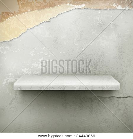 Empty shelf, vector vintage background