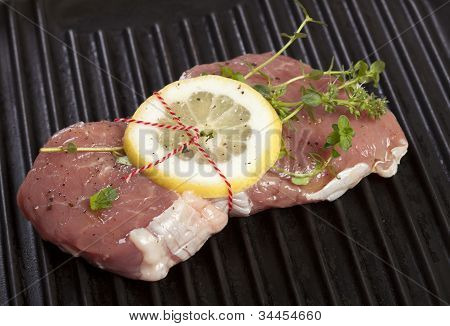 Raw Veal Steak With Lemon And Thyme