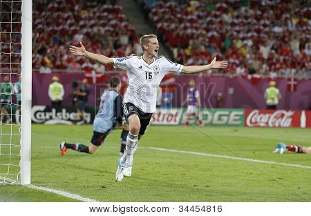 Lars Bender Of Germany Reacts After He Scored Against Denmark