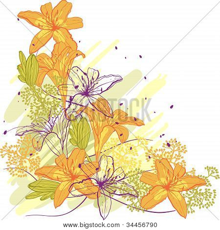 Lily flower abstract vector background, template for you design.