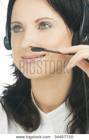 Closeup Portrait Of Brunette Call-center Customer's Support Operator With Headset Isolated On White