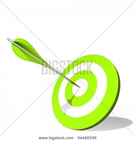 Hohe Auflösung-Konzept oder konzeptionelle grüne Ziel Dartscheibe mit einem Pfeil in der Mitte, die isoliert auf wh