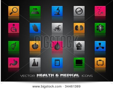 Medical icons set isolated on grey background. EPS 10.