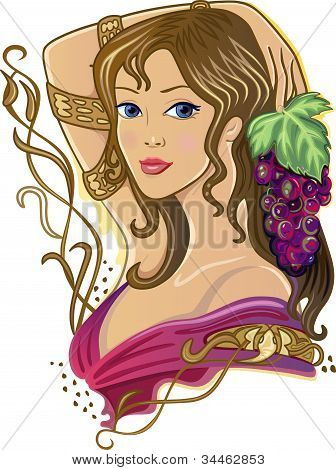 Snake Girl with grapes isolated on white background