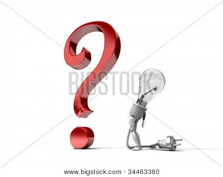 "The robot ""bulb"" perplexedly looks at a question mark isolated on a white background"