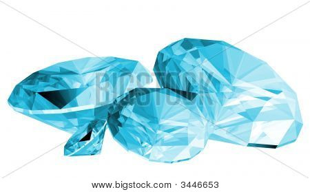 3D Aquamarine Gem Isolated