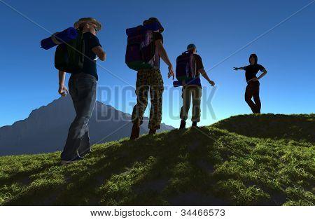 Silhueta de um grupo de pessoas na grama.