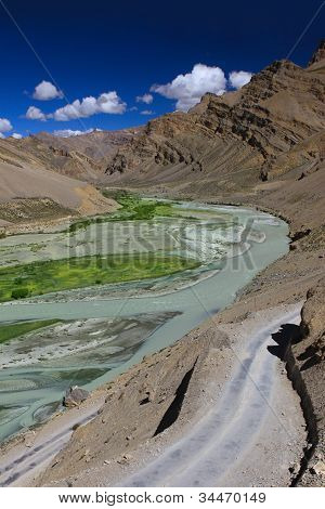 Mountain Landscape With River. Zanskar