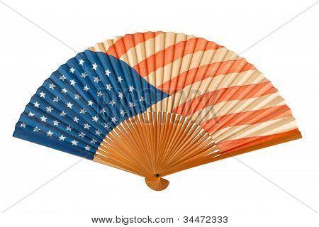 Antique American Flag Folding Fan