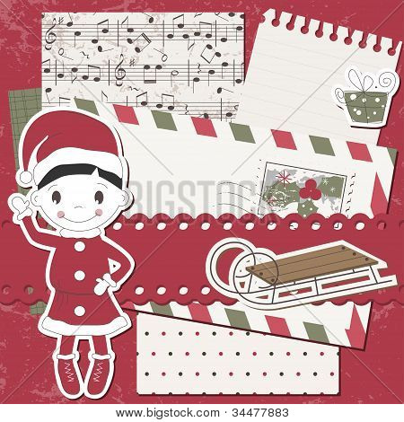 Vector Christmas and New Year scrapbook card
