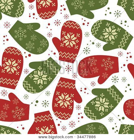 Christmas seamless pattern with winter mittens