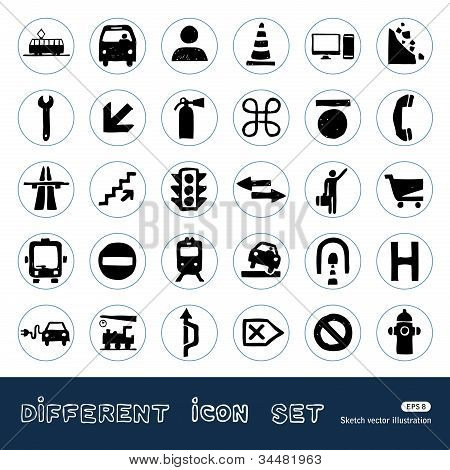 Transport and road signs urban web icons set