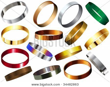 Metal Rings Bracelets Wristband Set