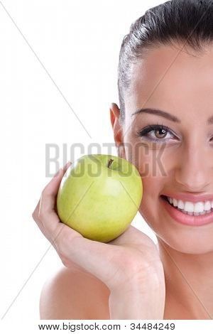 young woman shoving her perfect healthy teeth
