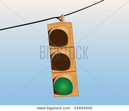 Traffic Lights On The Wire Green