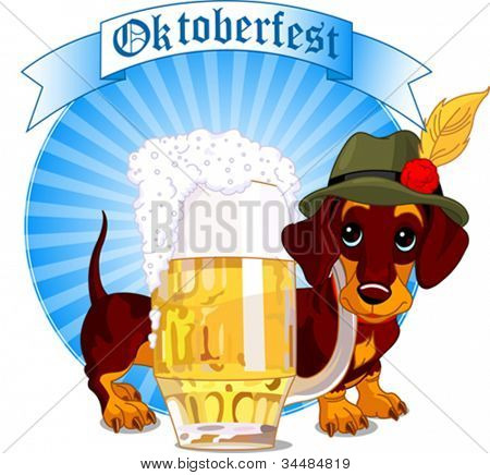 Oktoberfest design of dachshund dog and a pint of beer