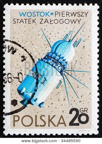 Postage stamp Poland 1966 Vostok, USSR Spacecraft