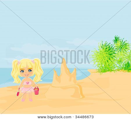 Illustration little girl building a sand castle at the beach