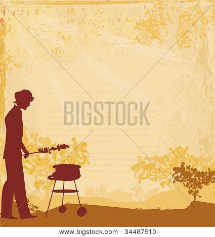 man cooking on his barbecue Invitation