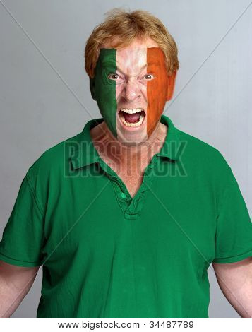 Hysterical supporter with the Irish flag painted on his face