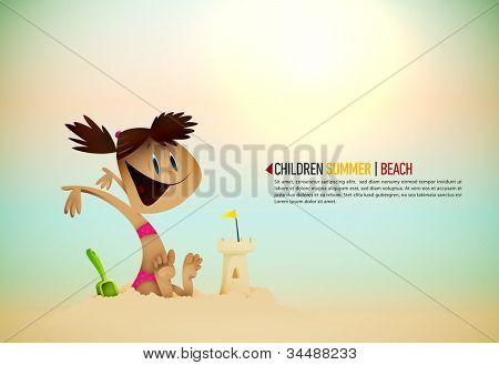 Little Girl Building Sand Castle on the Beach | Sunny Seashore | EPS10 Vector Background | Layers Organized and Named Accordingly
