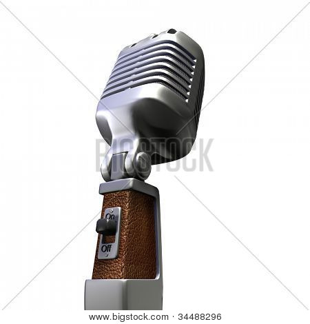 3D rendering of a retro microphone on a white background