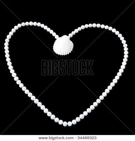 Heart of pearls and shell