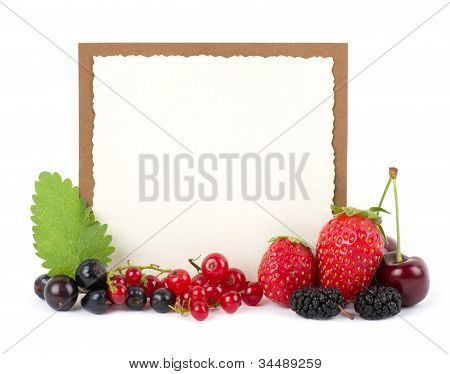 Fresh berry mix with banner on white background