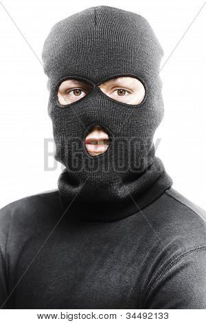Face Of A Burglar Wearing A Ski Mask Or Balaclava
