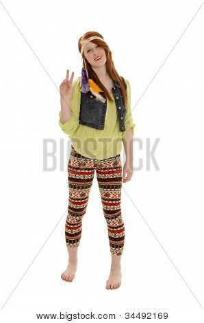 Retro Sixties Peace Love Hippy Chick