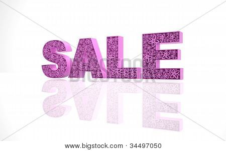 The word sale  is made with pink forms with abstract flowers.