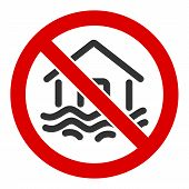 No Flood Disaster Vector Icon. Flat No Flood Disaster Pictogram Is Isolated On A White Background. poster