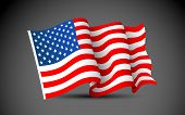 stock photo of veterans  - illustration of waving American Flag on dark background - JPG