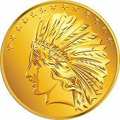 image of indian money  - American money dollar Gold Coin American image of Indians and stars - JPG