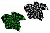 Almaty Region (republic Of Kazakhstan, Regions Of Kazakhstan) Map Is Designed Cannabis Leaf Green An poster