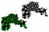 North Kazakhstan Region (republic Of Kazakhstan, Regions Of Kazakhstan) Map Is Designed Cannabis Lea poster