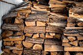 Pile Of Firewood. Harvesting Firewood For The Winter. Heating Season, Eco-raw Materials. Selective F poster