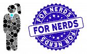 Collage Business Lady Icon And Rubber Stamp Seal With For Nerds Caption. Mosaic Vector Is Composed W poster