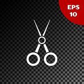 White Scissors Hairdresser Icon Isolated On Transparent Dark Background. Hairdresser, Fashion Salon  poster
