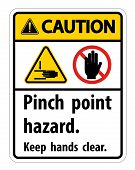 Caution Pinch Point Hazard,keep Hands Clear Symbol Sign Isolate On White Background,vector Illustrat poster