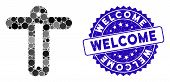 Mosaic Welcome Person Icon And Rubber Stamp Seal With Welcome Phrase. Mosaic Vector Is Designed With poster