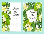 Invitations With Jungle Leaves, Tropical Flower Frangipani. Vector Illustration Summer Templates. Pl poster