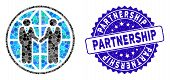 Mosaic Global Partnership Icon And Grunge Stamp Seal With Partnership Caption. Mosaic Vector Is Comp poster