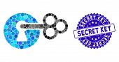Mosaic Secret Key Icon And Rubber Stamp Watermark With Secret Key Phrase. Mosaic Vector Is Composed  poster