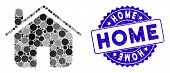 Mosaic Home Icon And Rubber Stamp Seal With Home Phrase. Mosaic Vector Is Designed With Home Icon An poster