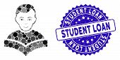 Collage Student Icon And Grunge Stamp Seal With Student Loan Text. Mosaic Vector Is Formed With Stud poster